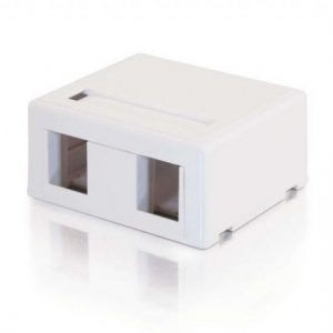 2 PORT SURFACE MOUNT BOX RJ45 KEYSTONE JACKS WHITE