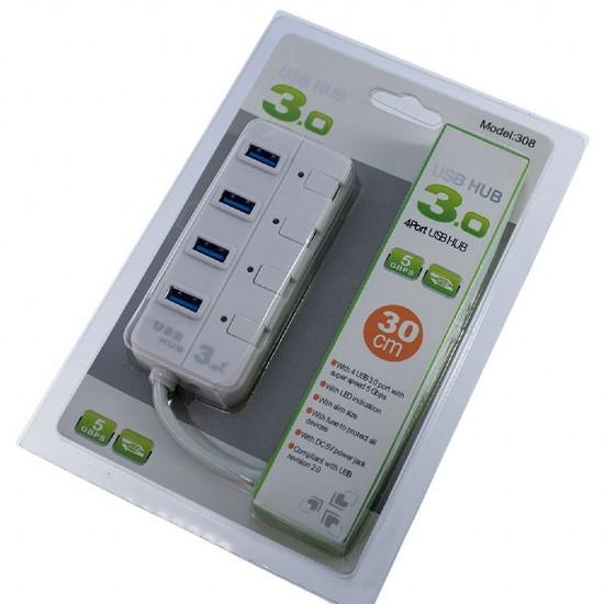4 Port USB 3.0 5Gbps Portable Hub Adapter