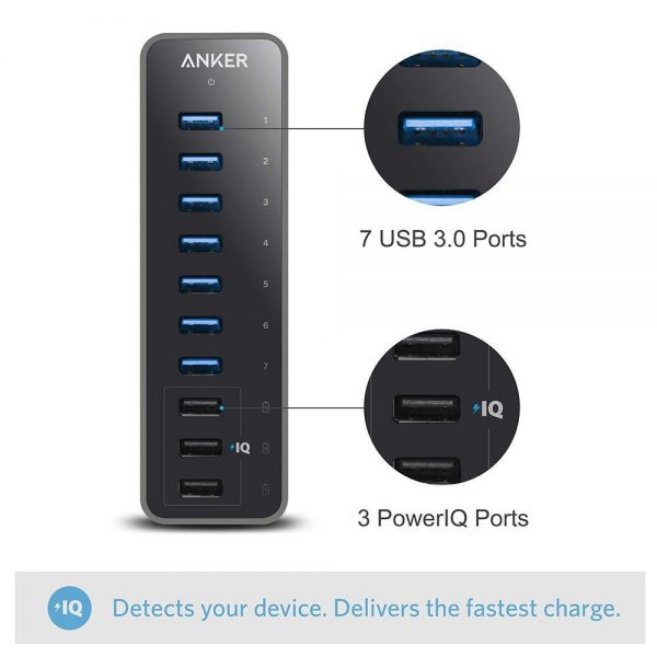 Anker 10-Port 60W USB 3.0 Hub with 7 Data Transfer Ports and 3 PowerIQ Charging Ports